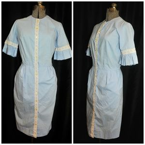 Helen Whiting VTG 50s Blue Cotton Dress Size Small